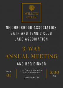 Annual Meeting For All 3 Organizations @ Lee County Historical Society Pavilion